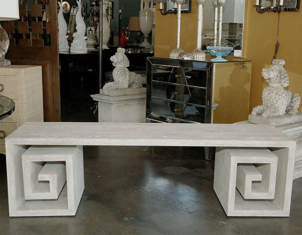 Paul Marra Solid Oak Greek Key Table/Bench 3
