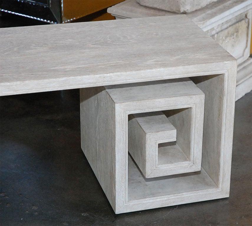 Paul Marra Solid Oak Greek Key Table/Bench 4