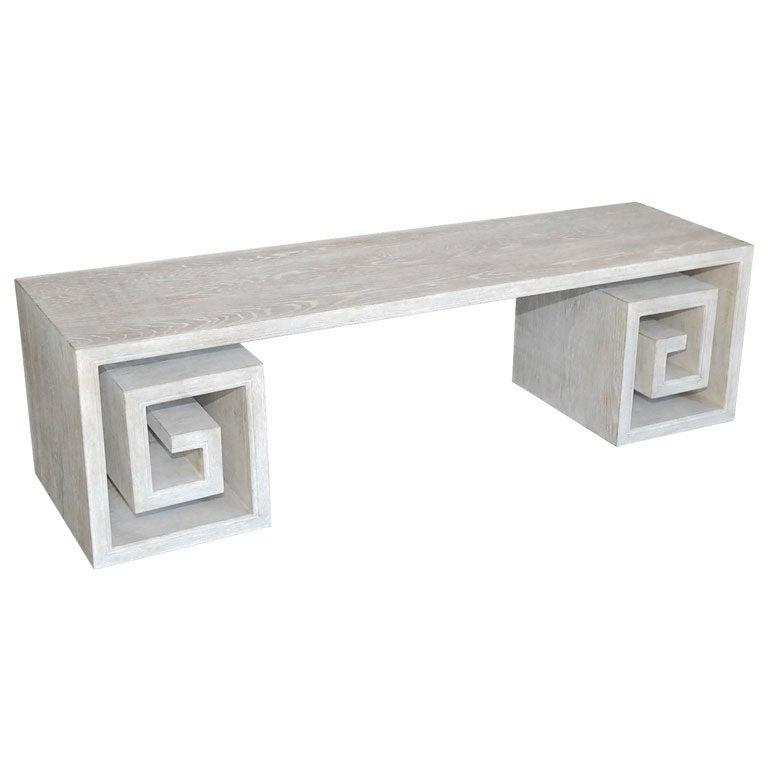 Paul Marra Solid Oak Greek Key Table/Bench 1