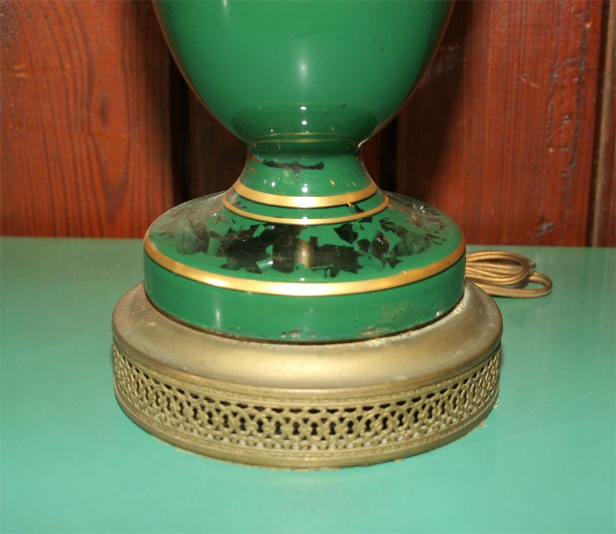 American Eglomise Greek Key Lamp and Spectacular Shade For Sale