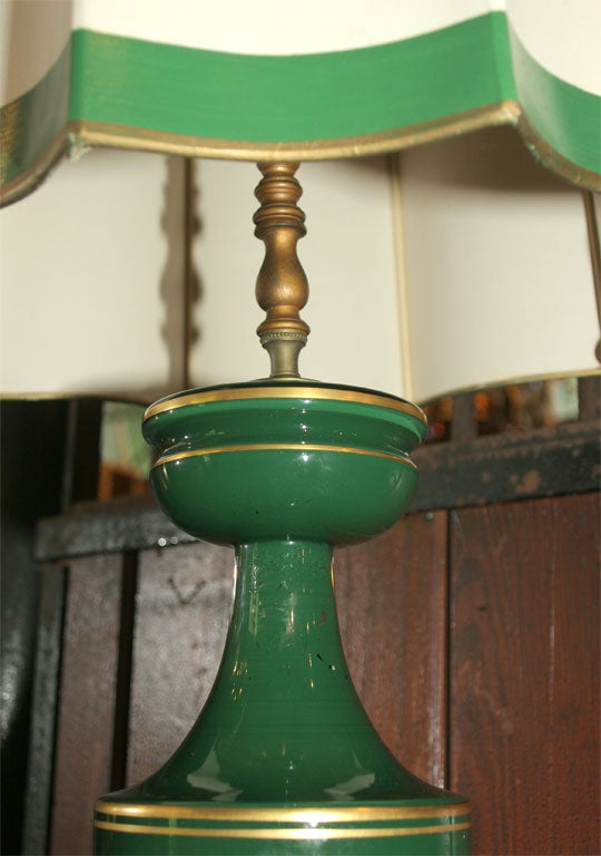 Mid-20th Century Eglomise Greek Key Lamp and Spectacular Shade For Sale