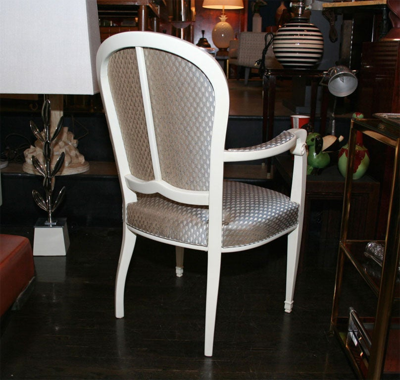 Two Pairs of White Lacquered Chairs by Leleu French 1940s