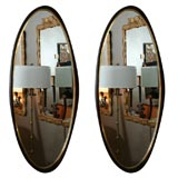Pair of Walnut Oval Mirrors with Brass Bands by Harvey Probber
