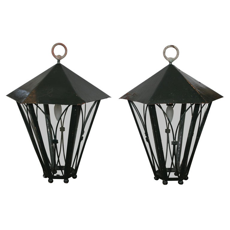 Pair of Dark Green Painted Metal Lanterns For Sale