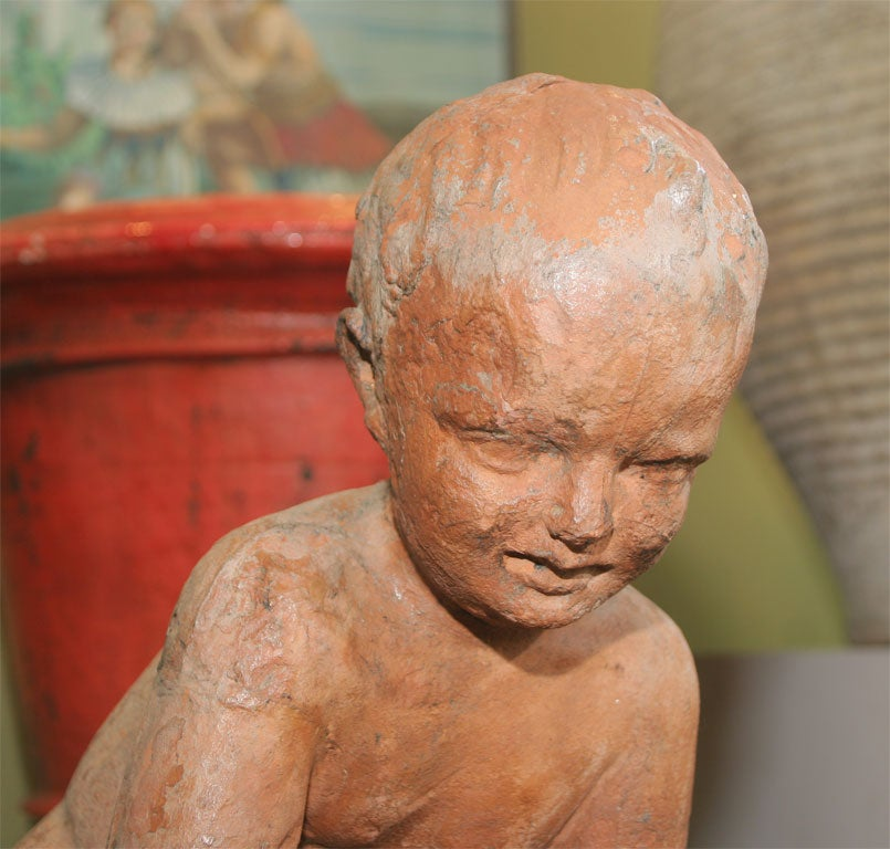 20th Century Terra Cotta Sculpture of Young Boy on a Turtle For Sale