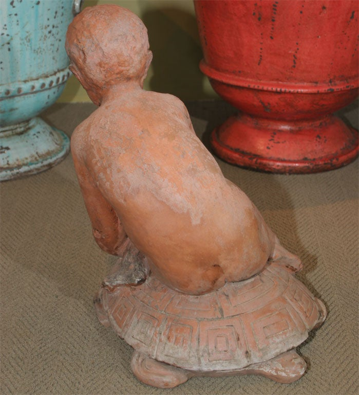 Terra Cotta Sculpture of Young Boy on a Turtle For Sale 2