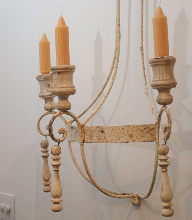 Pair of Painted Wrought Iron and Wood Sconces In Good Condition For Sale In Mt Kisco, NY