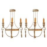 Pair of Painted Wrought Iron and Wood Sconces