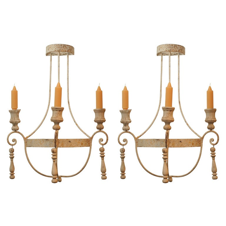 Pair of Painted Wrought Iron and Wood Sconces For Sale