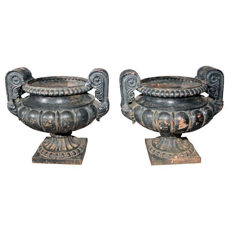 Pair of Dark Green/Black Painted Cast Iron Urns For Sale