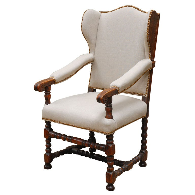 William And Mary Walnut Armchair At 1stdibs