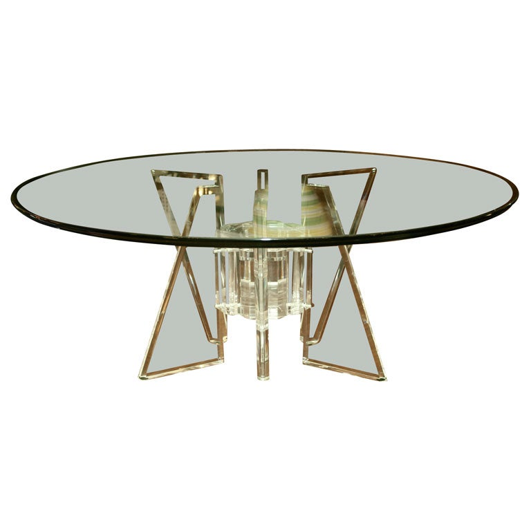 Fantastic Lucite / Glass CoffeeTable At 1stdibs