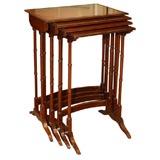 Antique English mahogany nest of 4 tables.