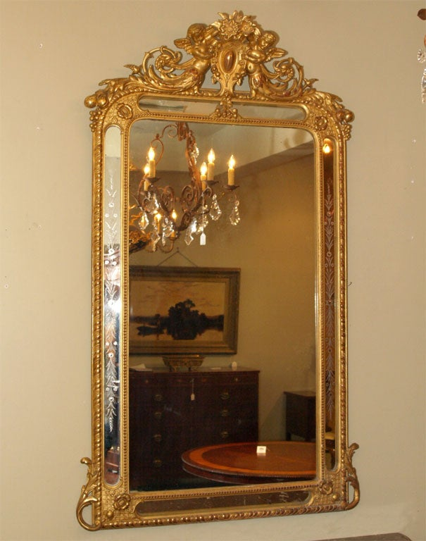 Antique French gold leaf mirror with putti and etched ...