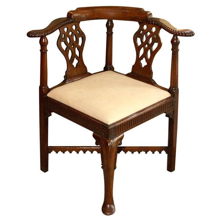 antique english mahogany corner chair at 1stdibs