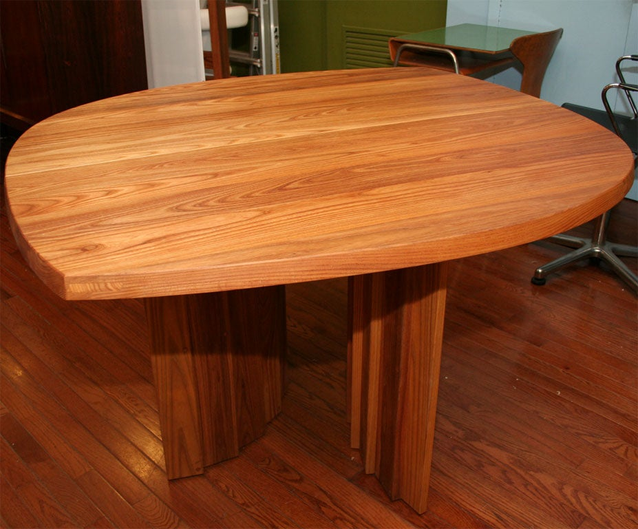 Elm Variable Geometric Dining Table by Pierre Chapo For Sale