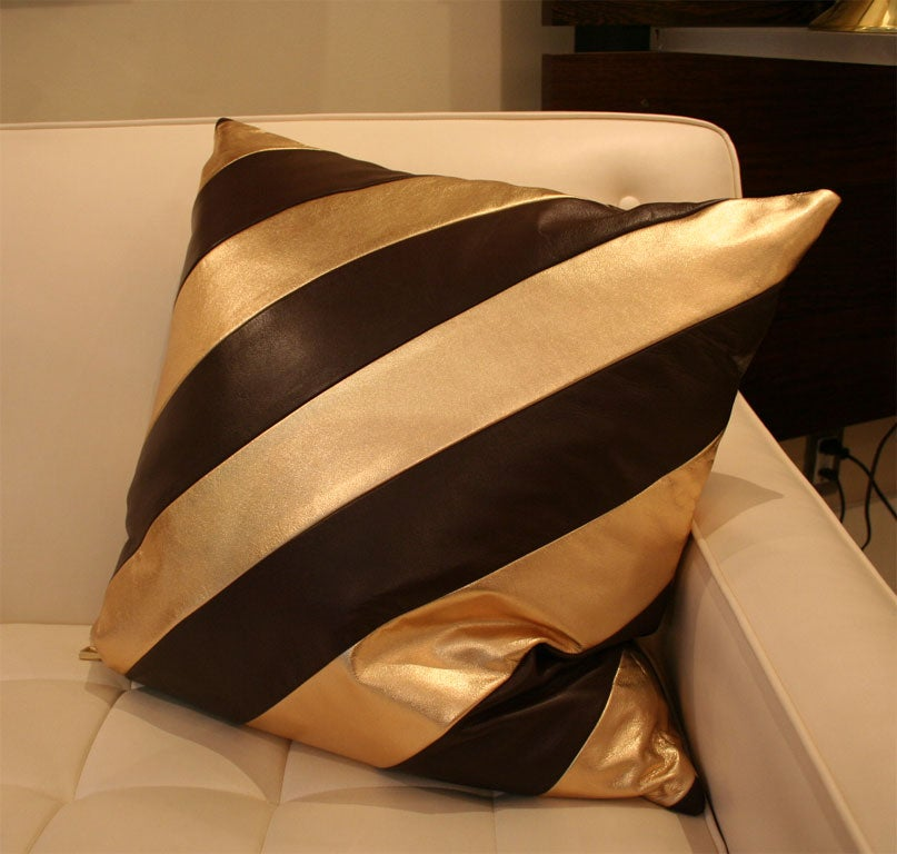 Striped Leather pillows image 2