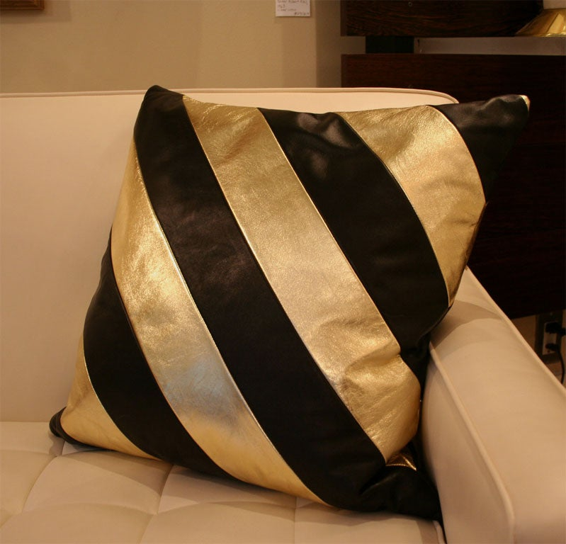 Striped Leather pillows image 5