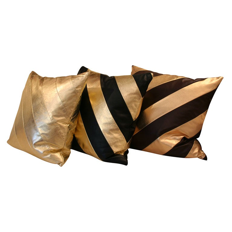 Striped Leather pillows