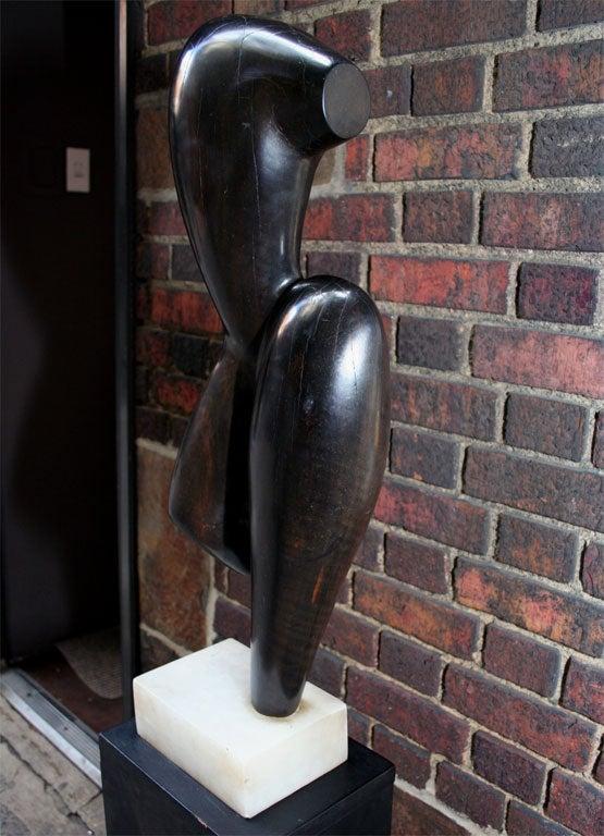 Mid-20th Century Modernist Wood Sculpture Signed Brumme, 1946 For Sale