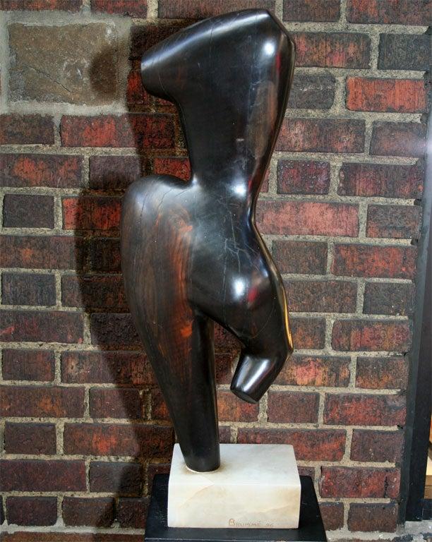 Modernist Wood Sculpture Signed Brumme, 1946 For Sale 2