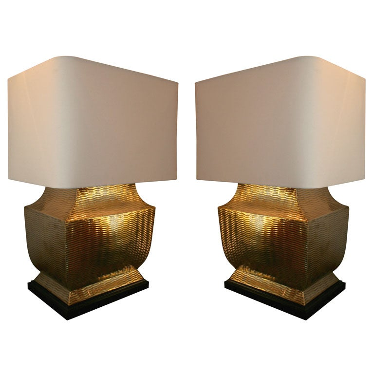 Pair of Classical Asian Modern Brass Table Lamps