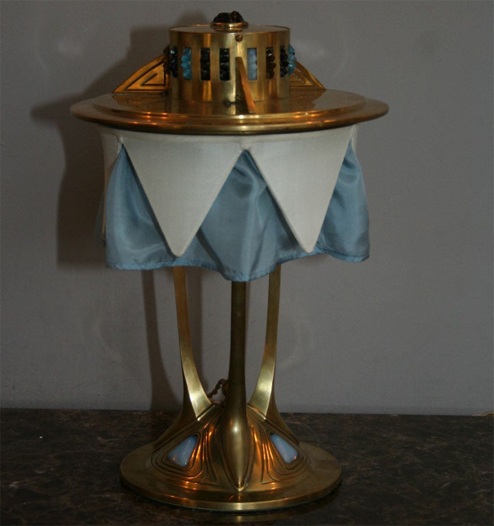 Faceted Austrian Brass and Jewel Encrusted Table Lamp For Sale