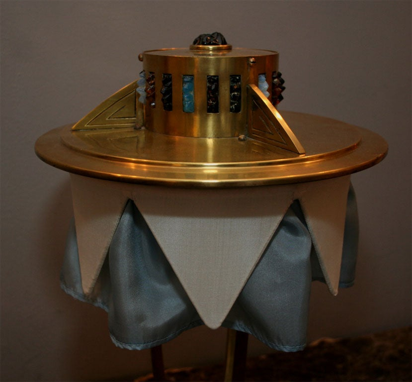20th Century Austrian Brass and Jewel Encrusted Table Lamp For Sale