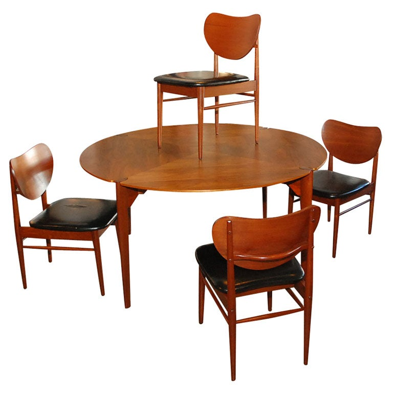 Brown-Saltman Walnut Game/ Dining Set