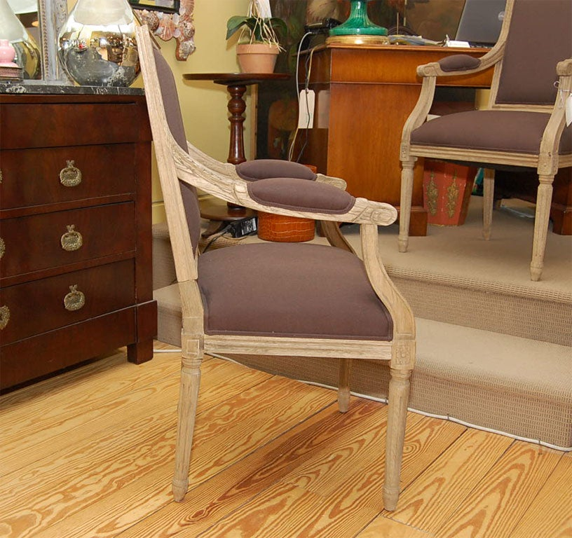 Contemporary Salon Chair in Pickled Oak For Sale