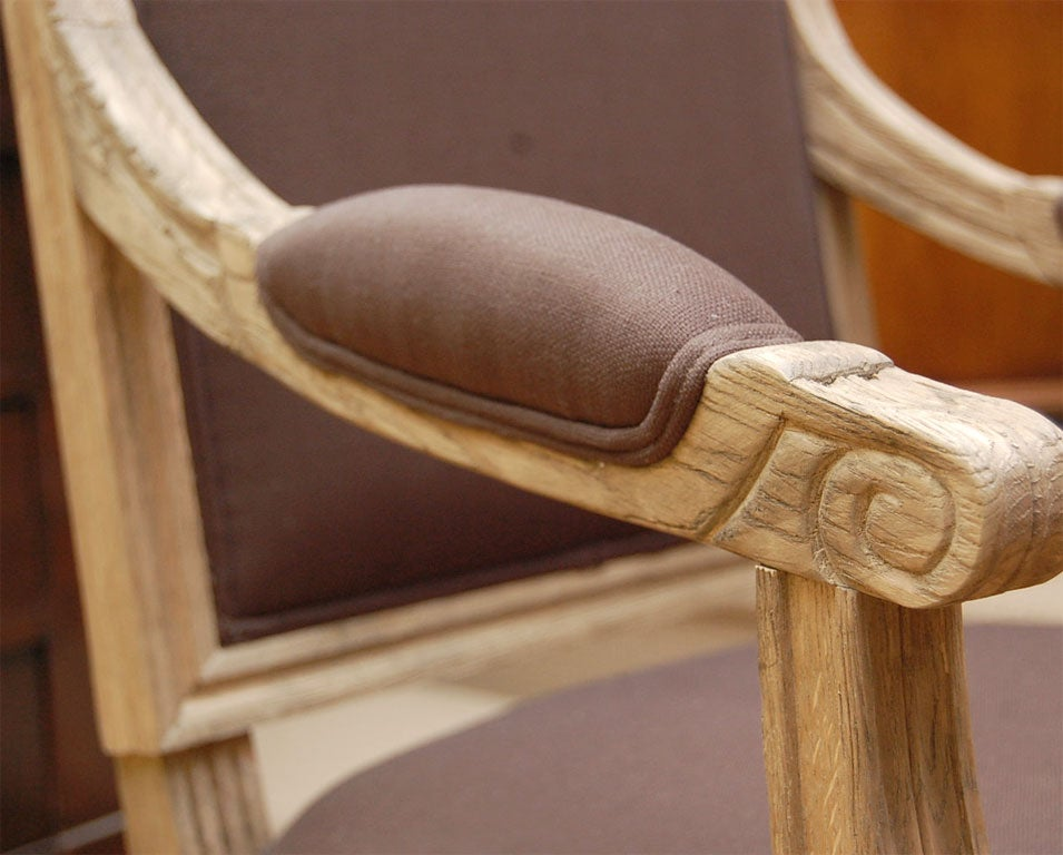 Salon Chair in Pickled Oak For Sale 3