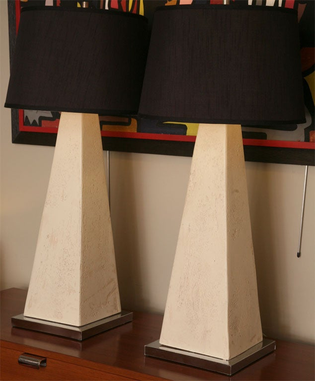 Monumental Modern Faux Stone Obelisk Table Lamps For Sale 3