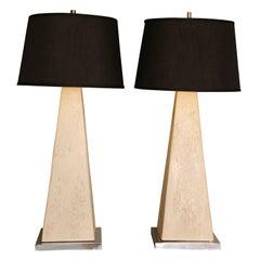 Monumental Modern Faux Stone Obelisk Table Lamps