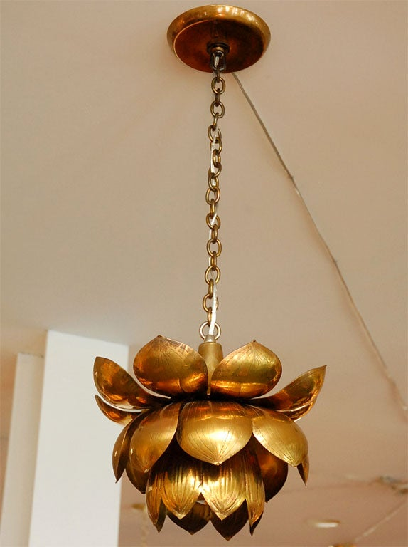 Brass Lotus Chandelier In Excellent Condition For Sale In Los Angeles, CA