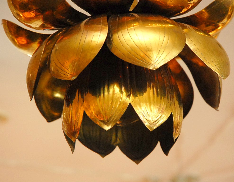 20th Century Brass Lotus Chandelier For Sale