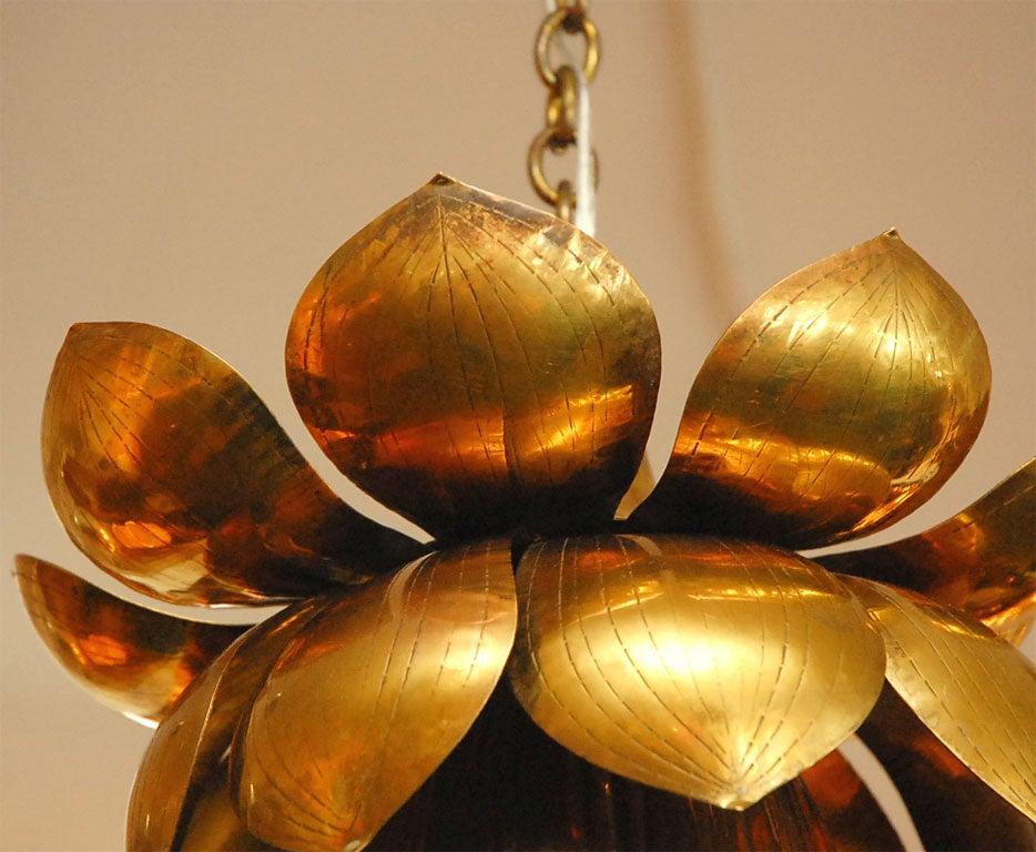 Brass Lotus Chandelier For Sale 1