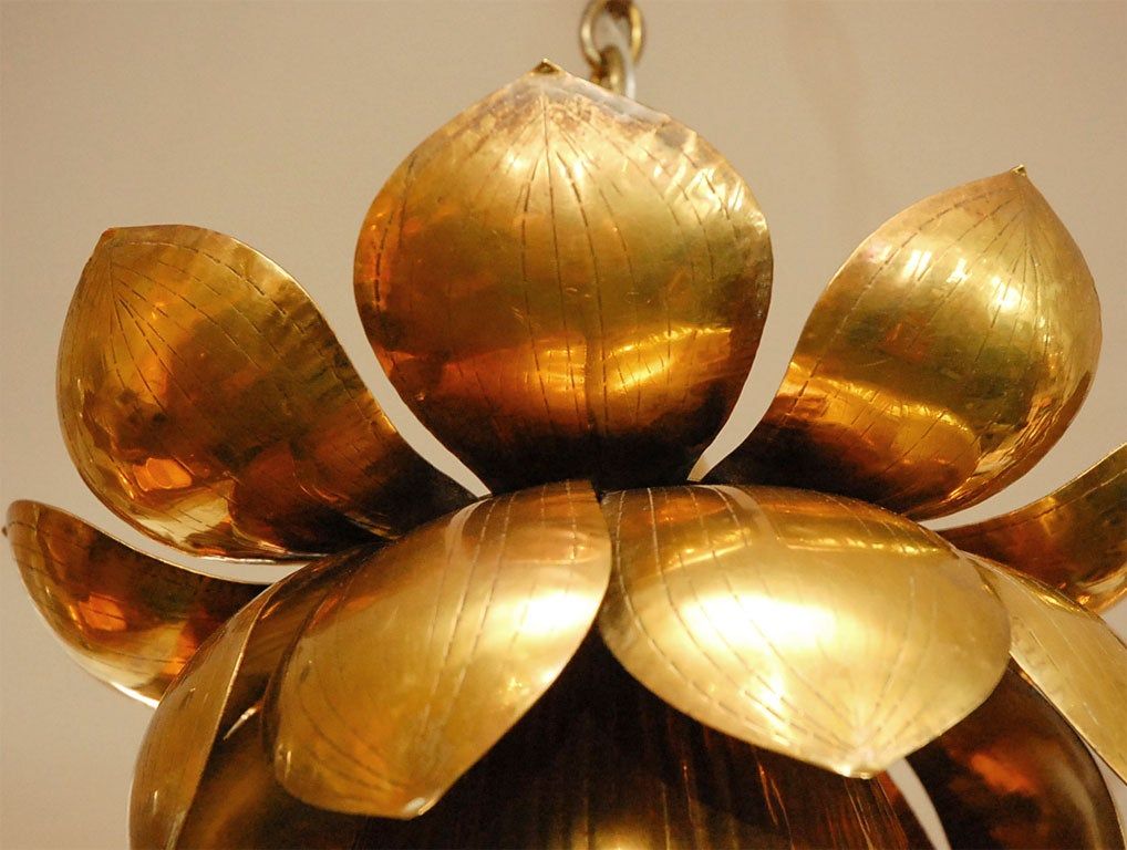 Brass Lotus Chandelier For Sale 3