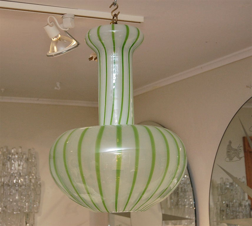 Green And White Hand Blown Glass Ceiling Fixture By