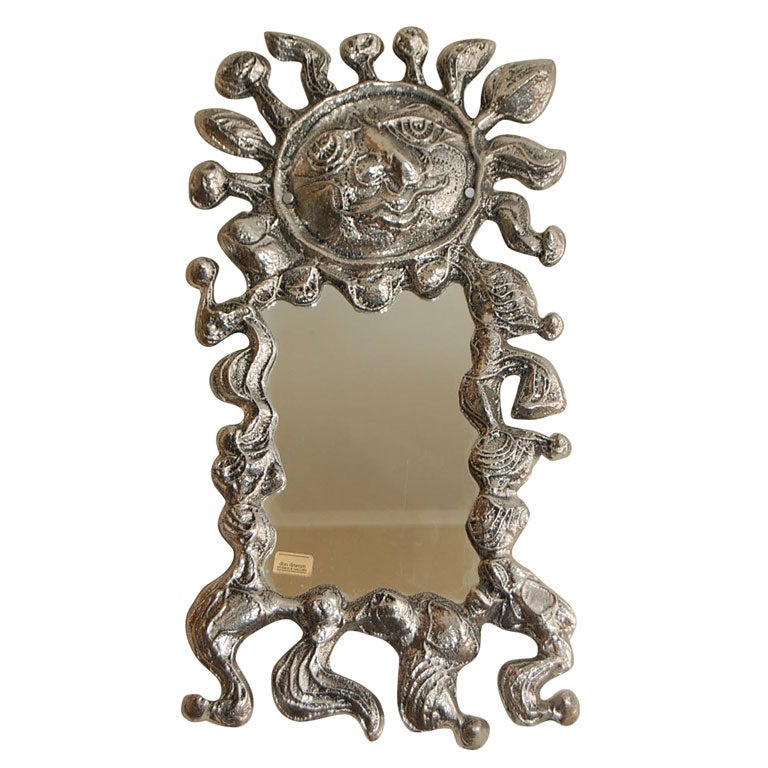 Donald drumm sand cast aluminum wall mirror at 1stdibs for Mirror mirror cast