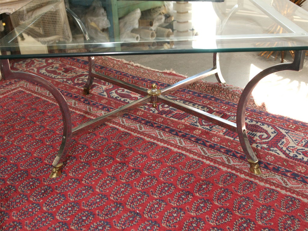 Metal Base With Glass Top Coffee Table At 1stdibs