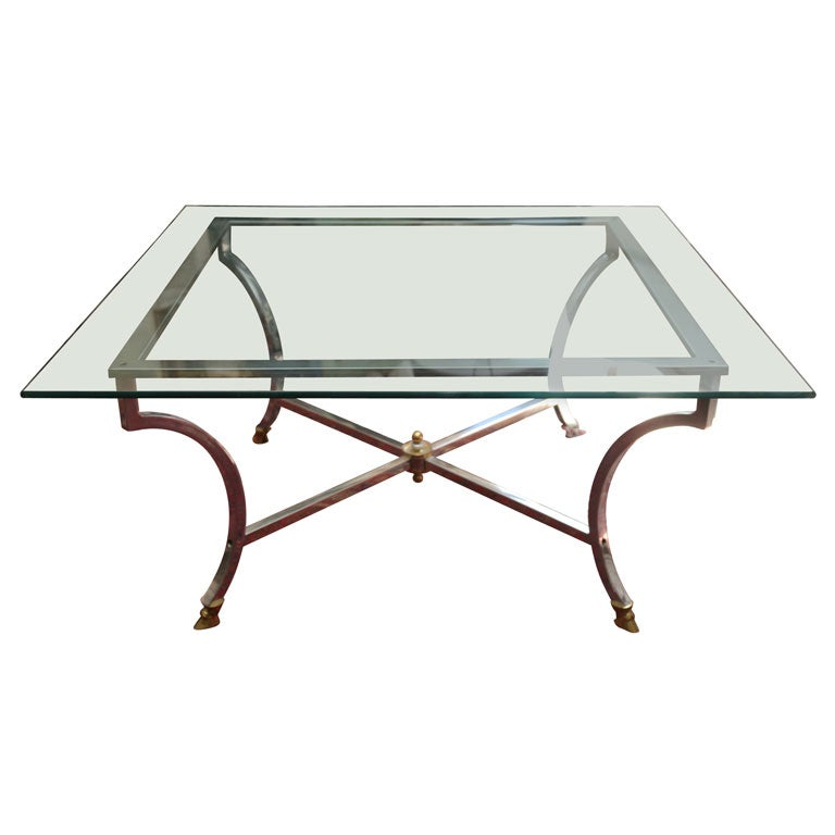Glass Coffee Table Brass Base: Metal Base With Glass Top Coffee Table At 1stdibs