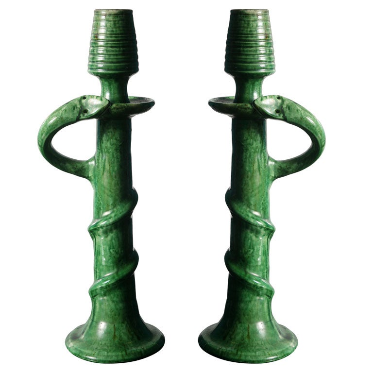 Pair Of Pottery Snake Candlesticks From Belgium At 1stdibs