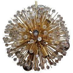 Austrian Snowflake Crystal Chandelier in Brass Finish