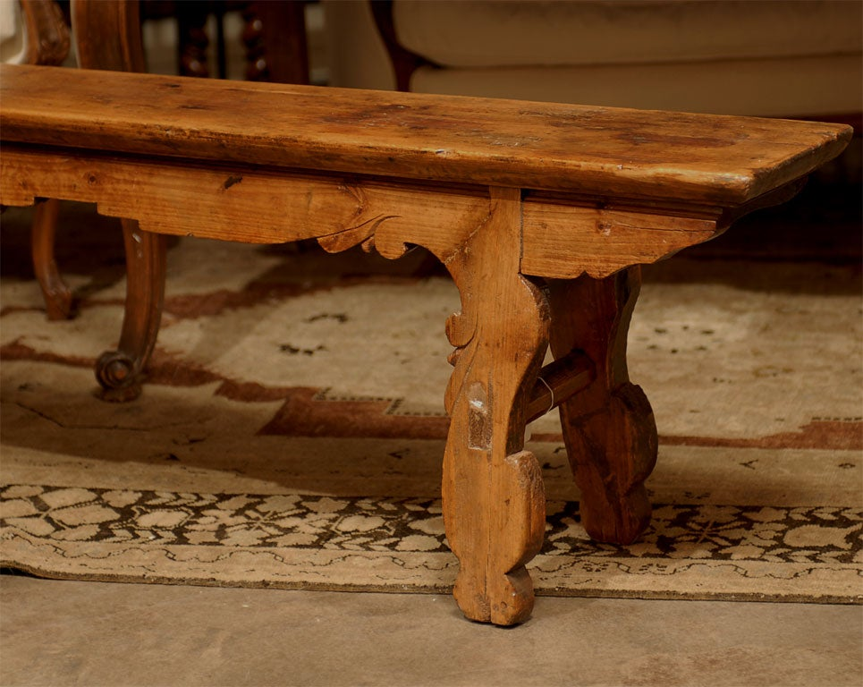 Late 19th Century Long Backless Wooden Bench With Carved Legs And Skirt For Sale At 1stdibs