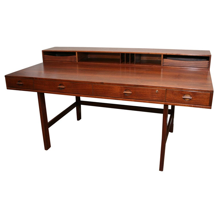 Rosewood Lovig Desk With Flip Top Compartment And Drawers