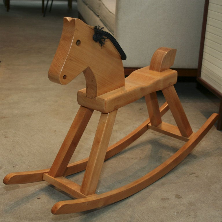 Vintage solid beech rocking horse by Kay Bojesen For Sale 2