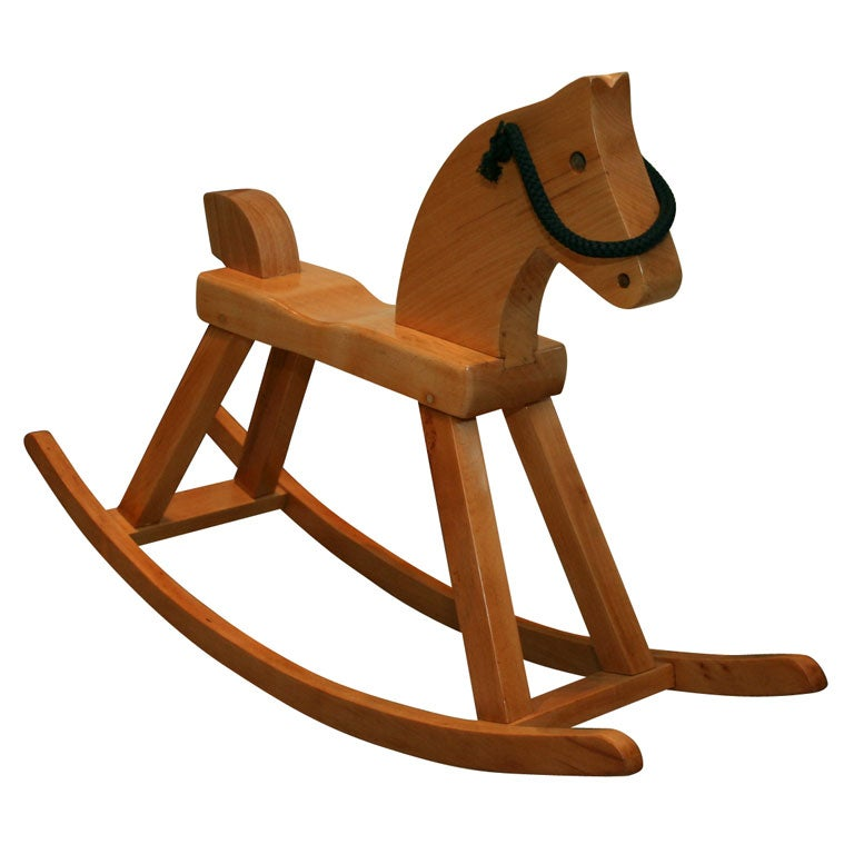 Vintage solid beech rocking horse by Kay Bojesen For Sale