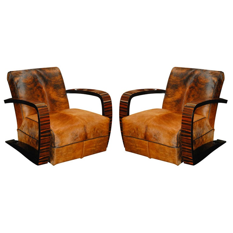 Pair Of Macassar Ebony And Cow Hide Salon Chairs For Sale