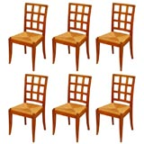 Set of 7 large French 40's dining room chairs by Rinck