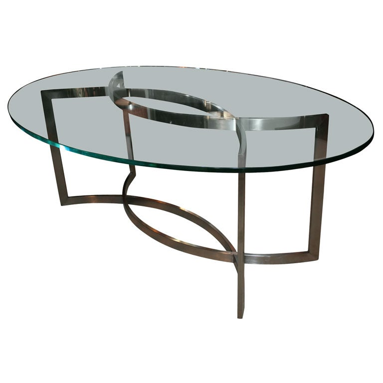 Glass And Stainless Steel Dining Table By Paul Le Geard At